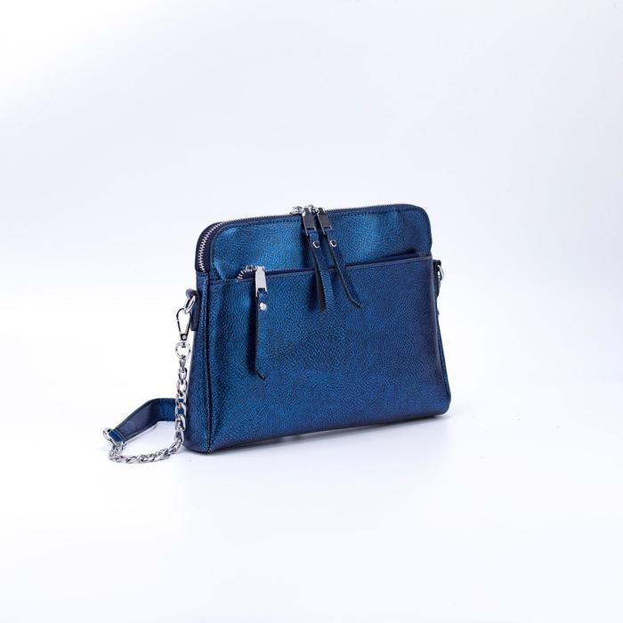 Сумка женская, отдел на молнии, 2 наружных кармана, 2 ремня, цвет синий - фото 787502