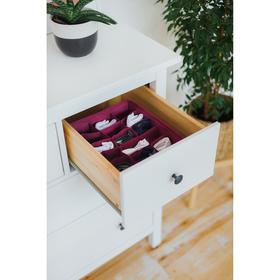 Органайзер для белья «Бордо», 18 ячеек, 35×30×12 см, цвет бордовый - фото 4640744