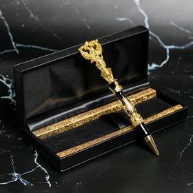 Ручка металл с гербом, цвет черный