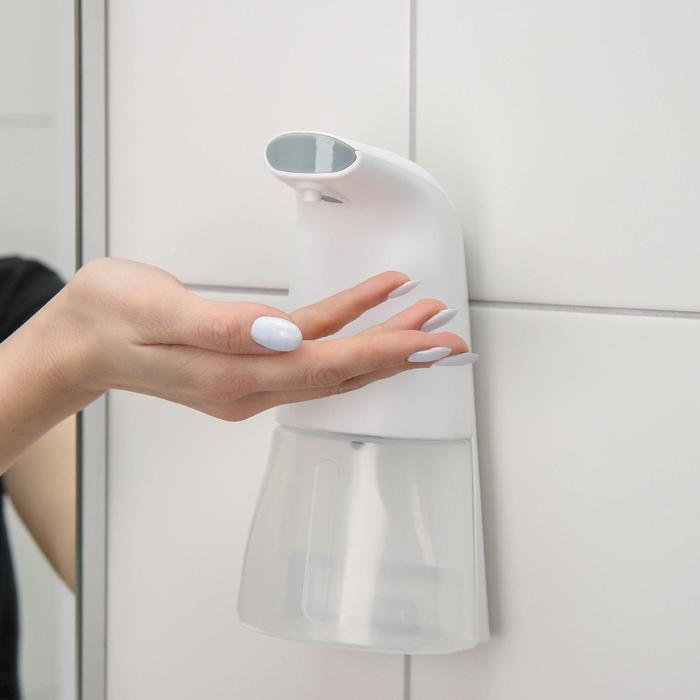 Диспенсер для антисептика/пенного мыла, 300 мл, сенсорный на батарейках, цвет белый - фото 797522954