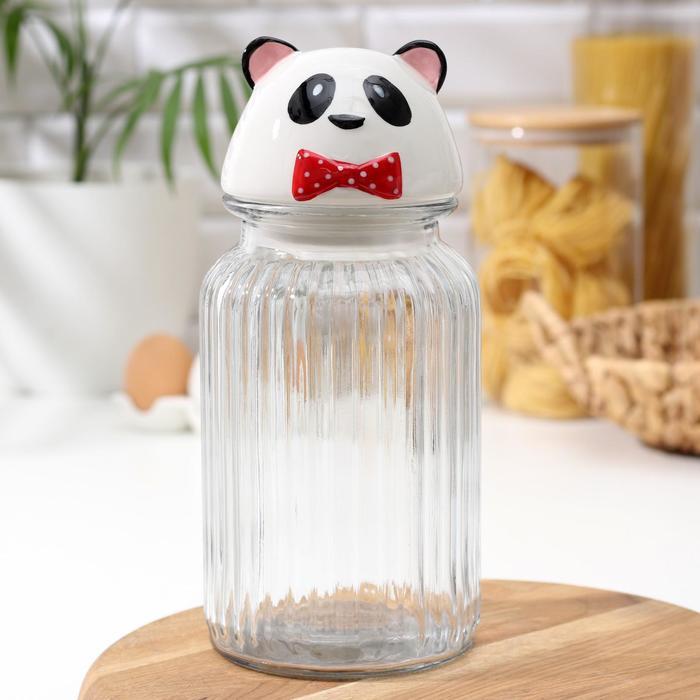 Банка для сыпучих продуктов Доляна «Панда», 1,3 л - фото 640500