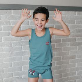 Майка для мальчика Funny, рост 98-104 см, цвет бирюзовый