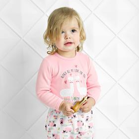 Боди с длинным рукавом «Весёлая ферма», рост 86 см, цвет розовый