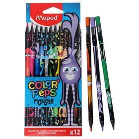 Цветные карандаши 12 цветов MAPED Color'Peps Black Monster, пластиковые