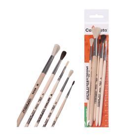 Набор кистей Микс 5 штук, Calligrata №8 (круглые: Коза № 3, 6, 8, Пони № 1, 4; плоская Щетина № 4) деревянная ручка - фото 8259646