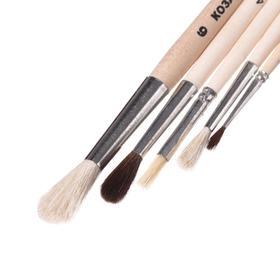 Набор кистей Микс 5 штук, Calligrata №8 (круглые: Коза № 3, 6, 8, Пони № 1, 4; плоская Щетина № 4) деревянная ручка - фото 8259647