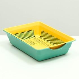 Туалет глубокий с сеткой, 36 х 26 х 9 см, жёлтый/ярко-зелёный