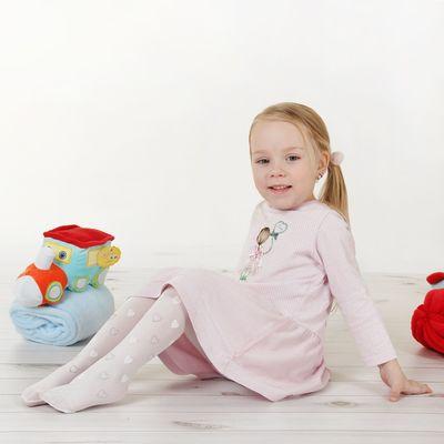 "Детские колготки со стразами ""Сердечко"", S/1-4 г. 66-86 см, 88% полиамид, 12% эластан"