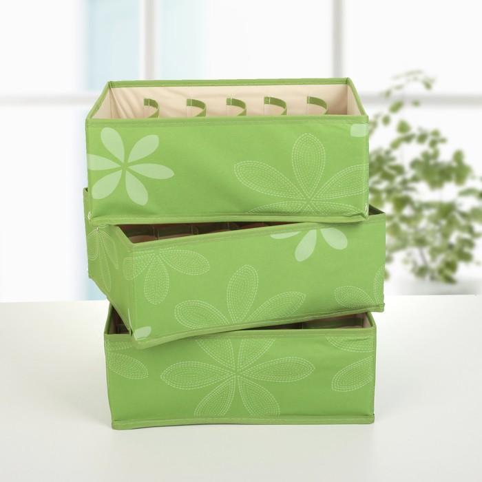 """Набор органайзеров для белья 34х24х12 см, """"Листочки"""" 3 шт, цвет зеленый"""