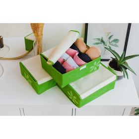 """Набор органайзеров для белья с крышкой 32×24×12 см """"Листочки"""", 3 шт, цвет зелёный"""