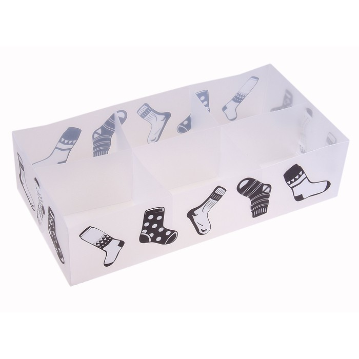 "Короб для хранения 6 ячеек без крышки 30,5х16х8 см ""Носки"" цвет белый"