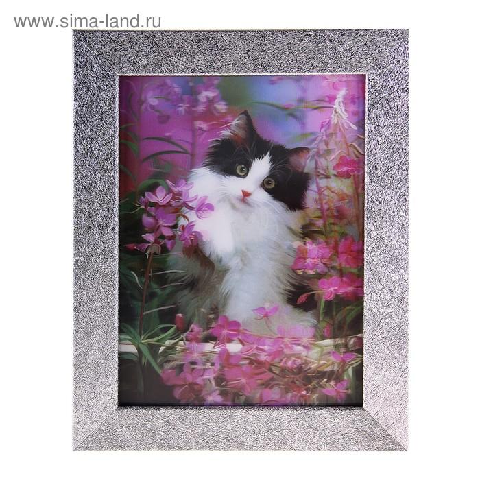 """Картина объёмная 3D """"Кошечка в цветах"""""""
