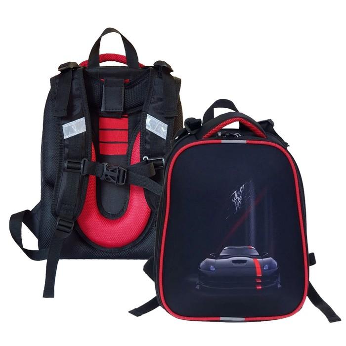 """Рюкзак каркасный, Stavia, 38 х 30 х 16 см, для мальчика, эргономичная спинка, """"Чёрная машина"""" - фото 788411"""