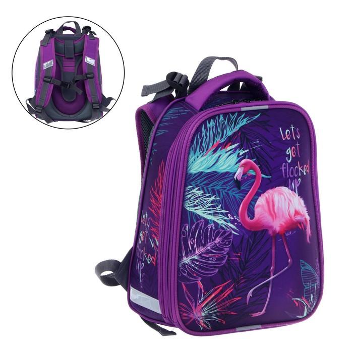 "Рюкзак каркасный, Stavia, 38 х 30 х 16 см, для девочки, эргономичная спинка, ""Фламинго"" - фото 788444"