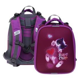 """Рюкзак каркасный, Stavia, 38 х 30 х 16 см, для девочки, эргономичная спинка, """"Котик 3D"""""""