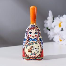 Bell matryoshka medium with handle, cats, 10 cm