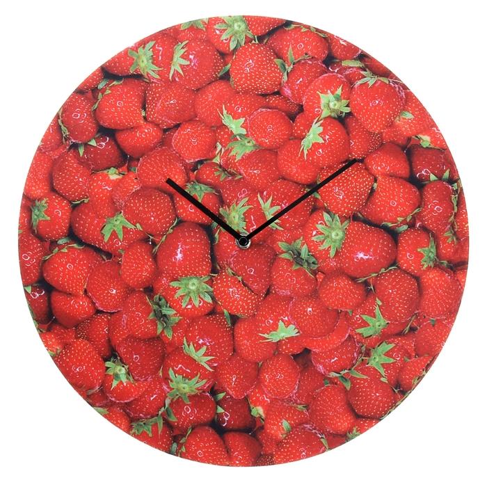 """Часы настенные, серия: Кухня, """"Клубничка"""", d=40 см"""