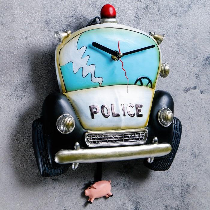 """Часы настенные, серия: Детские,  """"Полицейская машина"""", 26х34 см"""