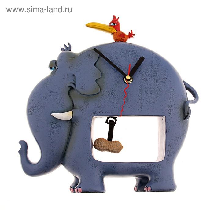 """Часы настольные """"Синий слон с птичкой"""""""