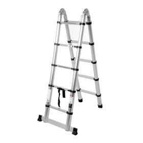 Стремянка-лестница телескопическая TUNDRA, раскладная, алюминиевая, 1.6 х 1.6 м