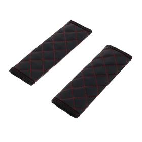 Belt pads, eco-leather, red, rhombus, set of 2 pieces
