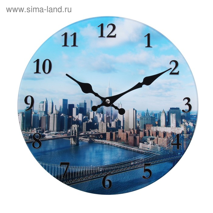 """Часы настенные из стекла """"Мегаполис"""""""