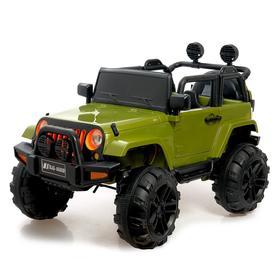 Электромобиль «Джип», световые и звуковые эффекты, цвет зелёный