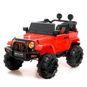 Электромобиль «Джип», световые и звуковые эффекты, цвет красный