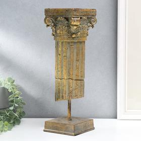 "Сувенир полистоун ""Античная колонна"" золотистая патина с зелёным 36х12,5х12,5 см"