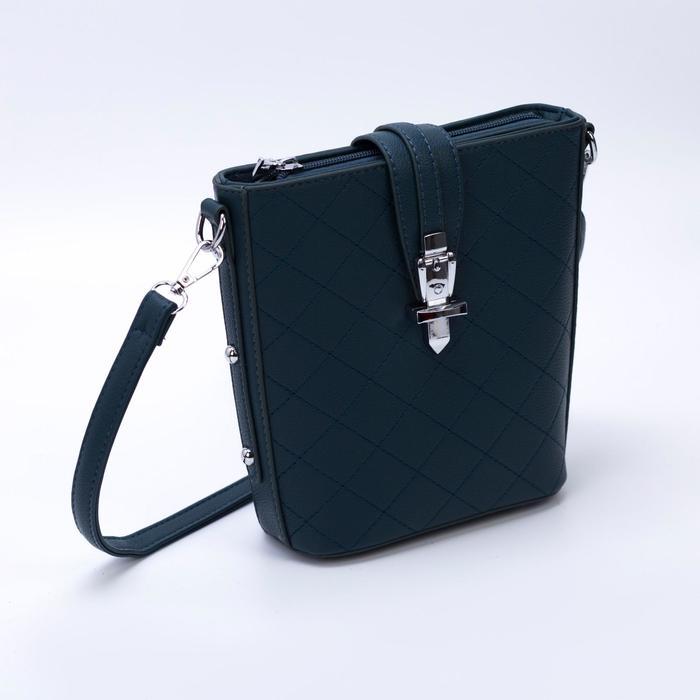 Сумка женская, отдел на молнии, наружный карман, 2 ремня, цвет зелёный - фото 789249