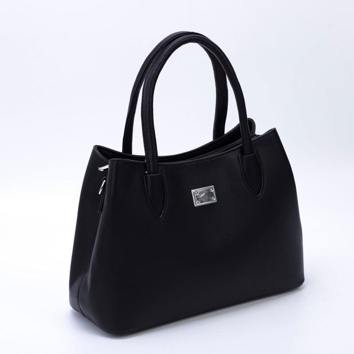 Сумка женская, отдел на молнии, наружный карман, цвет чёрный - фото 789289