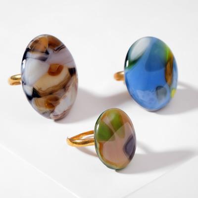 """Кольцо из витражного стекла """"Галтовка"""", форма МИКС, цвет МИКС в серебре, безразмерное"""