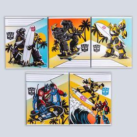 """Тетрадь 12 листов, клетка, """"Трансформеры"""", 5 видов МИКС, Transformers"""