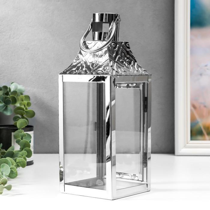 "Подсвечник металл, стекло на 1 свечу фонарик ""Ромбы-цветы"" серебро 26х10х10 см - фото 863896"