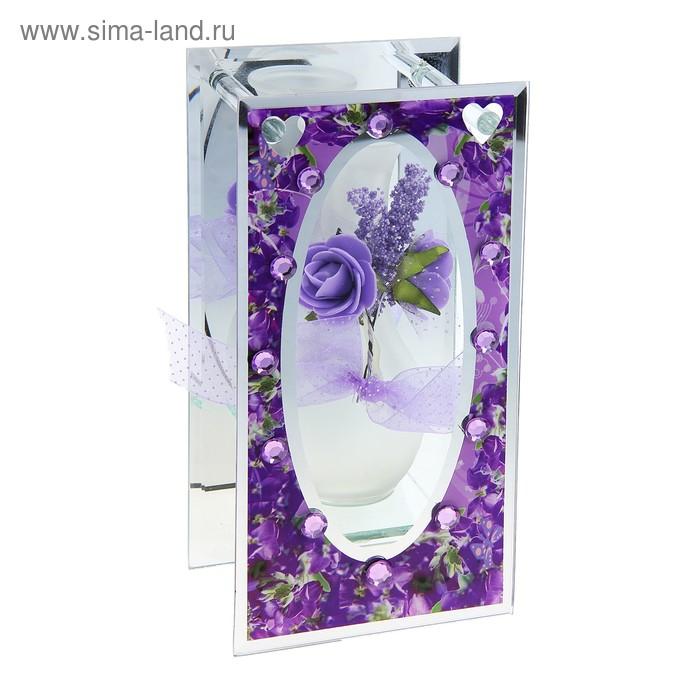 Ваза стекло Калипсо кант цветы 22 см тюльпаны