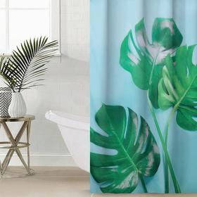 Штора для ванной комнаты «Сочная монстера», 145×180 см, оксфорд
