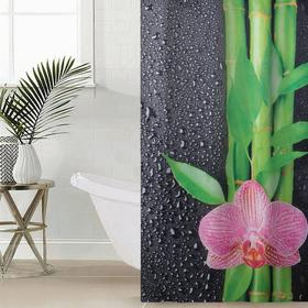 Штора для ванной комнаты «Капельки на чёрном», 145×180 см, оксфорд