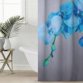 Штора для ванной комнаты «Голубая орхидея», 145×180 см, оксфорд