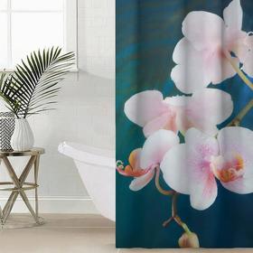 Штора для ванной комнаты Сирень «Белая орхидея на синем», 145×180 см, оксфорд