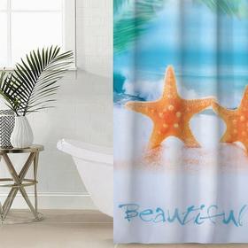 Штора для ванной комнаты «Райский остров», 145×180 см, оксфорд