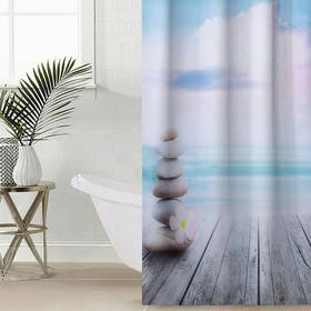 Штора для ванной комнаты «Море и камни», 145×180 см, оксфорд
