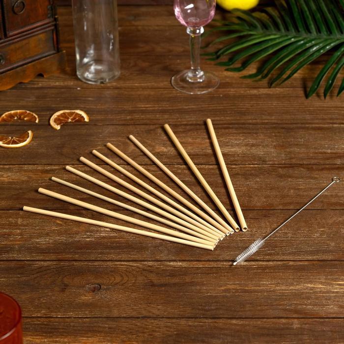 Трубочки для коктейля 10 шт 25х7х0,5 см бамбук - фото 725374