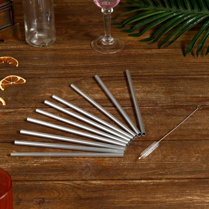 Трубочки для коктейля 10 шт 20х9х0,5 см алюминий - фото 725380