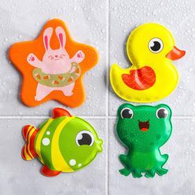 Игрушки для купания «На пруду» (набор 3 шт) + мини-коврик на присосках