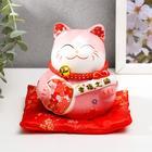 """Копилка керамика """"Манэки-нэко розовый с музыкальным инструментом"""" 11х10,5х9,5 см"""