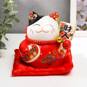 """Копилка керамика """"Манэки-нэко красный с опахалом"""" 11х10,5х9,5 см"""
