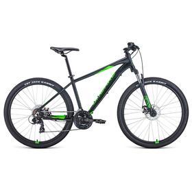 """Велосипед 27,5"""" Forward Apache 2.2 disc, 2021, цвет черный матовый/ярко-зеленый, размер 21"""""""