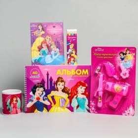 """Подарочный набор""""Принцессы"""": альбом, набор для творчества, набор парикмахера, карандаши, кружка.   6"""