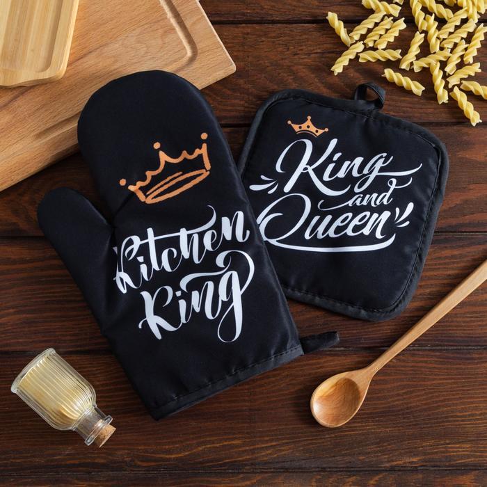 Кухонный набор 2 прихватки Доляна «King», прихватка 17х17 см, рукав. 26х16 см