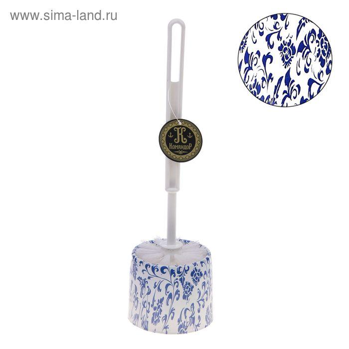 """Ершик для унитаза с подставкой 34х9,5 см """"Голубой узор"""""""